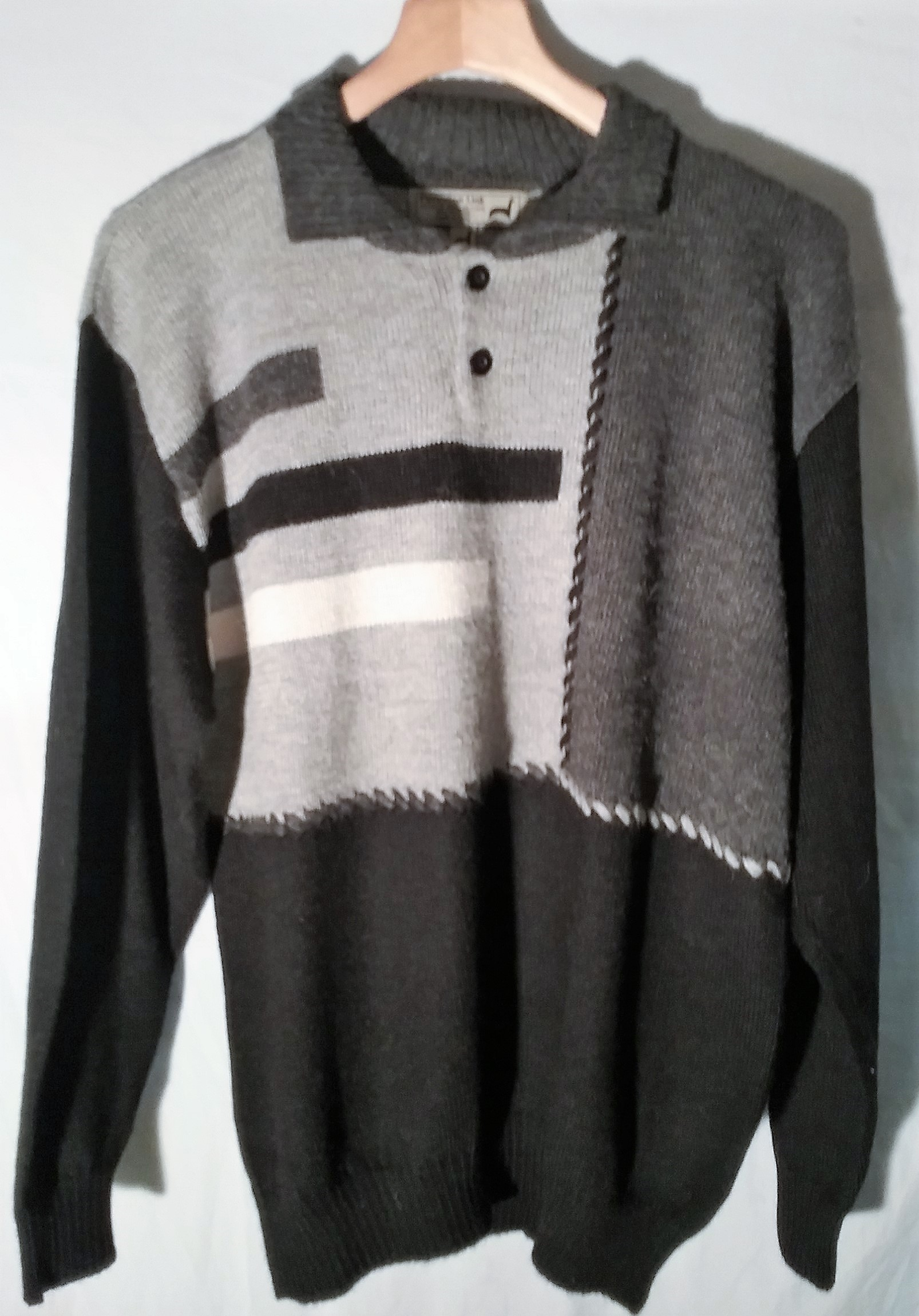 Grey Stripe Alpaca Sweater